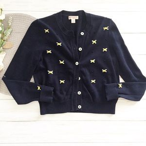 Brooks Brothers Embroidered Clip Dot Navy Cardigan